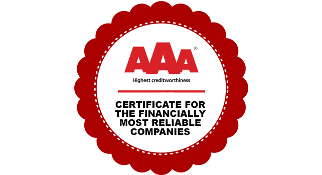 CERTIFICATE FOR THE FINANCIALLY MOST RELIABLE COMPANIES